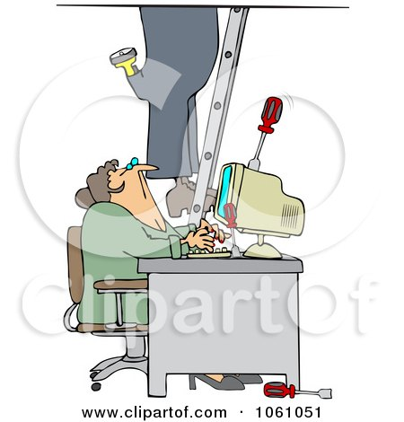 Royalty-Free Vector Clip Art Illustration of a Worker Climbing A Ladder And Dropping Tools Near A Secretary In An Office by djart