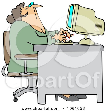 Royalty-Free Vector Clip Art Illustration of a Chubby Woman Looking Up Over Her Office Computer by djart