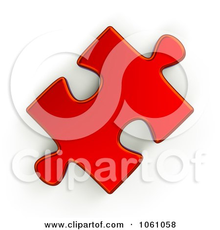 Royalty-Free CGI Clip Art Illustration of a 3d Metallic Red Jigsaw Puzzle Piece by ShazamImages