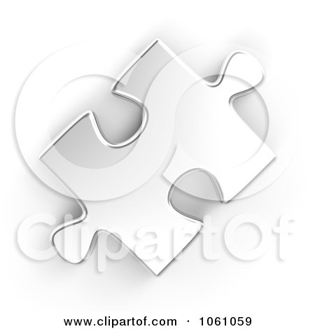 Royalty-Free CGI Clip Art Illustration of a 3d Silver Jigsaw Puzzle Piece by ShazamImages