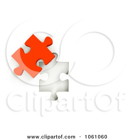 Royalty-Free CGI Clip Art Illustration of a 3d Red Jigsaw Puzzle Piece Next To A Hole by ShazamImages