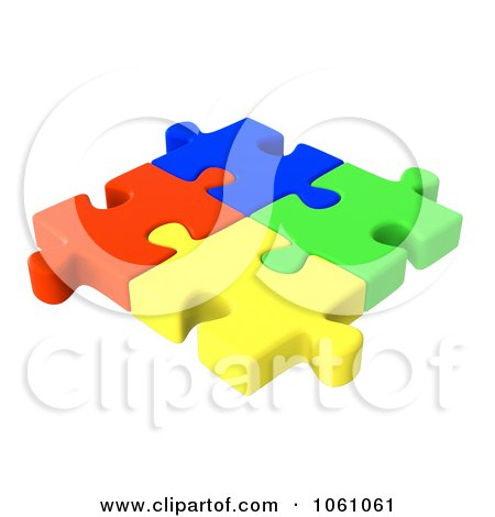 Royalty-Free CGI Clip Art Illustration of 3d Interlocked Colorful Jigsaw Puzzle Pieces by ShazamImages