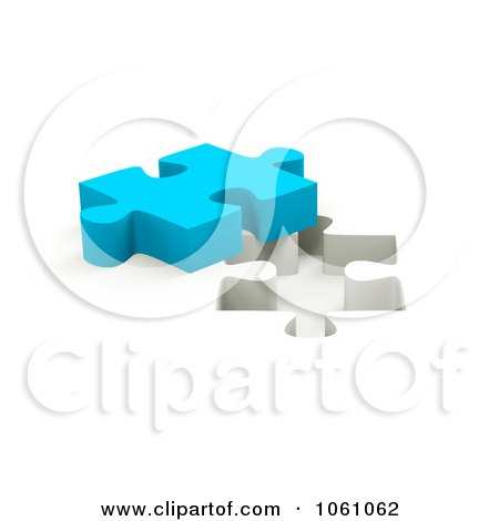 Royalty-Free CGI Clip Art Illustration of a 3d Blue Jigsaw Puzzle Piece By A Hole by ShazamImages