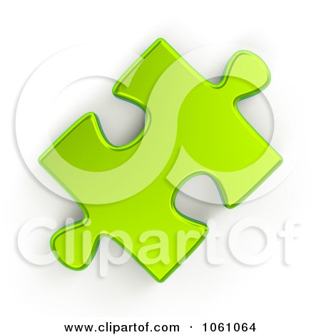 Royalty-Free CGI Clip Art Illustration of a 3d Metallic Lime Green Jigsaw Puzzle Piece by ShazamImages