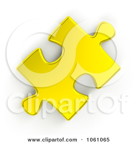 Royalty-Free CGI Clip Art Illustration of a 3d Golden Jigsaw Puzzle Piece by ShazamImages