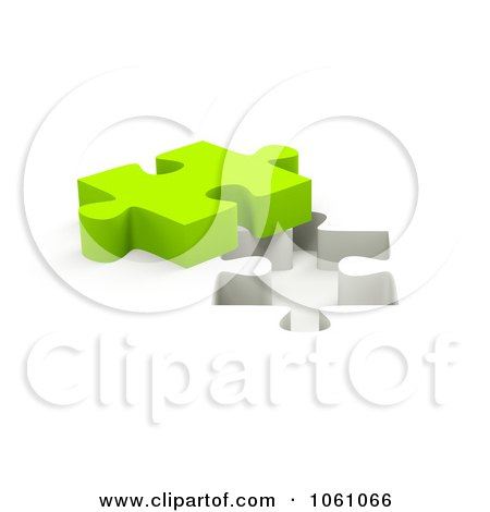 Royalty-Free CGI Clip Art Illustration of a 3d Lime Green Jigsaw Puzzle Piece By A Hole by ShazamImages