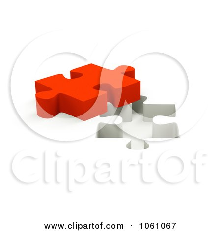 Royalty-Free CGI Clip Art Illustration of a 3d Red Jigsaw Puzzle Piece By A Hole by ShazamImages