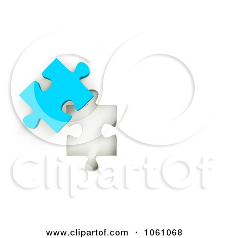 Royalty-Free CGI Clip Art Illustration of a 3d Blue Jigsaw Puzzle Piece Next To A Hole by ShazamImages
