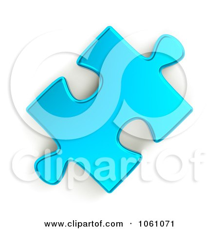 Royalty-Free CGI Clip Art Illustration of a 3d Metallic Blue Jigsaw Puzzle Piece by ShazamImages