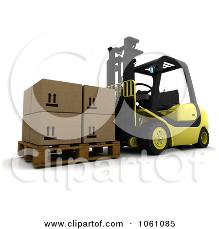 3d Forklift Moving Boxes - Royalty Free CGI Clip Art Illustration by KJ Pargeter