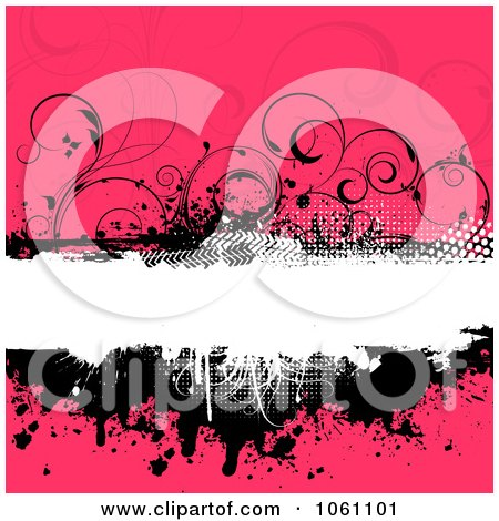 Grungy Black, White And Pink Floral Background With Splatters, Vines And Copyspace - Royalty Free Vector Clip Art Illustration by KJ Pargeter