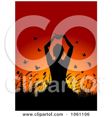 Silhouetted Yoga Woman With Plants And Butterflies Against A Sunset - Royalty Free Vector Clip Art Illustration by KJ Pargeter