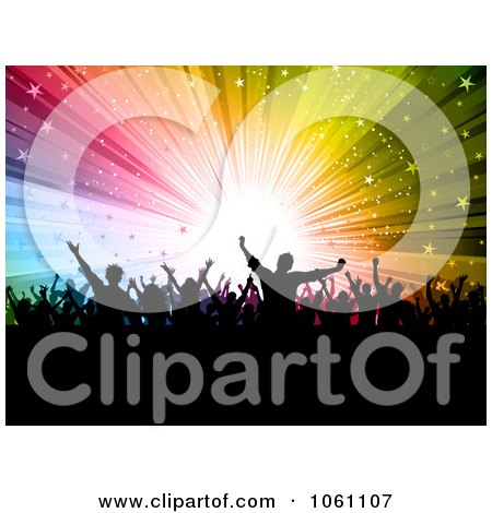 Silhouetted Audience Celebrating Over A Colorful Star Burst - Royalty Free Vector Clip Art Illustration by KJ Pargeter