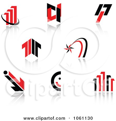 Royalty-Free Vector Clip Art Illustration of a Digital Collage Of Red And Black Logo Designs - 1 by Vector Tradition SM