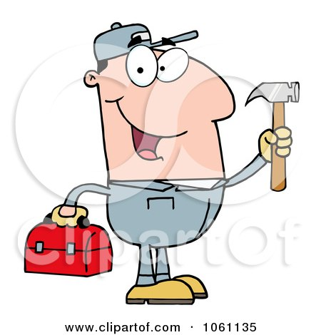 Clip Art Plumber Carrying A Tool Box And Hammer - Royalty-Free Vector Illustration by Hit Toon