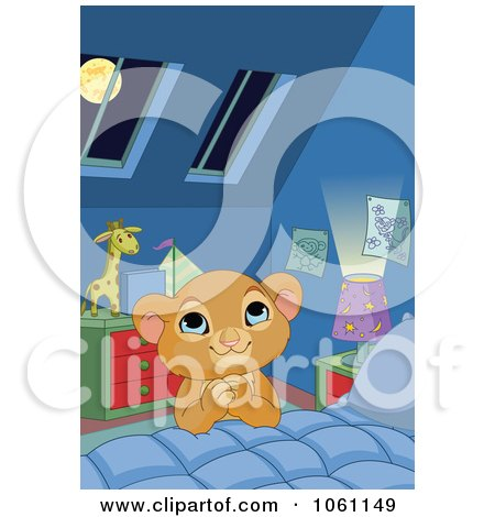Clipart Boy Lion Saying Bed Time Prayers - Royalty Free Heroine Vector Illustration by Pushkin
