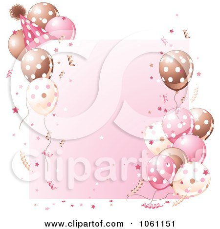 Clipart Birthday Party Frame In Brown And Pink - Royalty Free Heroine Vector Illustration by Pushkin