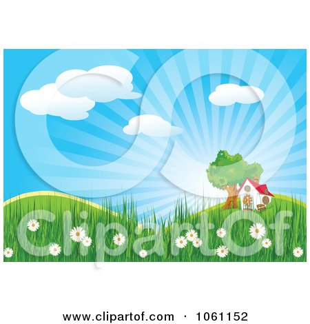 Clipart House And Tree In A Spring Landscape - Royalty Free Heroine Vector Illustration by Pushkin
