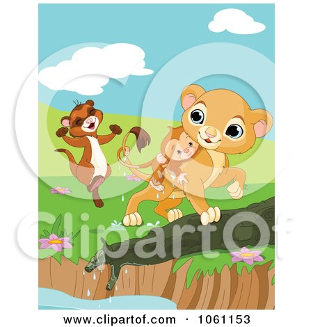 Clipart Ferret And Lion Saving A Drowning Monkey - Royalty Free Heroine Vector Illustration by Pushkin