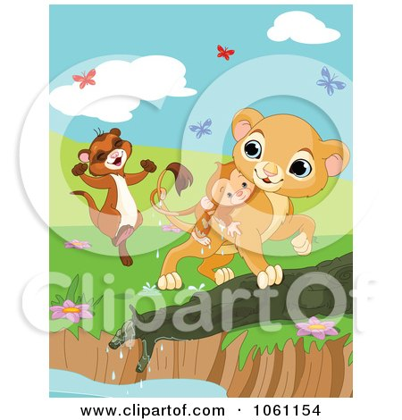 Clipart Weasel And Lion Saving A Drowning Monkey With Butterflies - Royalty Free Heroine Vector Illustration by Pushkin