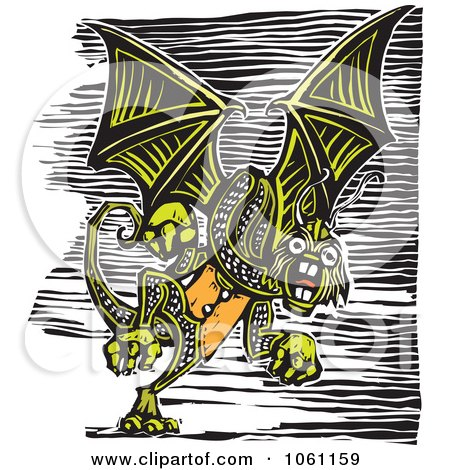 Royalty-Free Vector Clip Art Illustration of a Flying Green Jabberwockey Dragon, Woodcut Style by xunantunich
