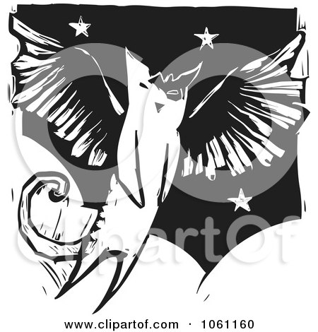 Royalty-Free Vector Clip Art Illustration of a Flying Winged Angel Cat In Black And White Woodcut Style by xunantunich