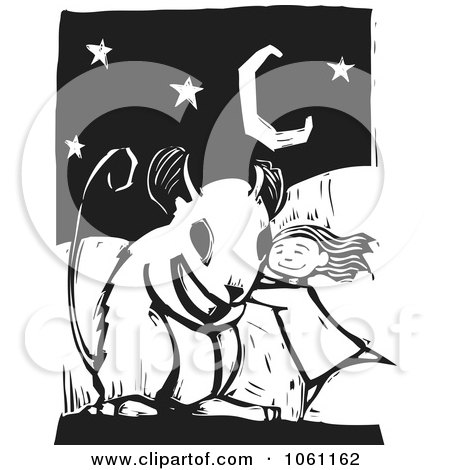 Royalty-Free Vector Clip Art Illustration of a Girl Hugging A Giant Mouse, In Black And White Woodcut Style by xunantunich