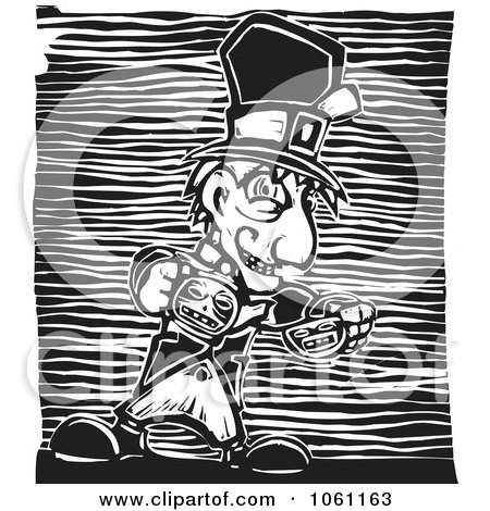 Royalty-Free Vector Clip Art Illustration of a Mad Hatter Pouring Tea, In Black And White Woodcut Style by xunantunich