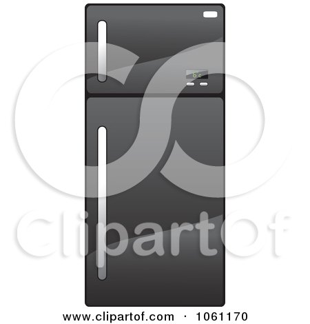 Royalty-Free Vector Clip Art Illustration of a 3d Shiny Black Refrigerator by Vector Tradition SM