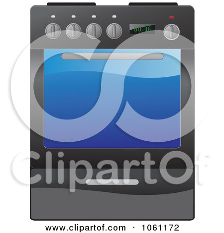 Royalty-Free Vector Clip Art Illustration of a Black Kitchen Range Oven With A Glass Door by Vector Tradition SM