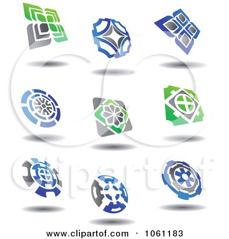 Green, Blue And Gray Abstract Logos 4 Digital Collage - Royalty Free Vector Clip Art Illustration by Vector Tradition SM