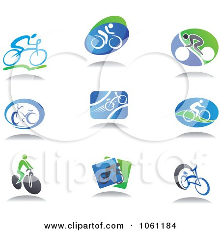 Digital Collage of Cyclist Logos Royalty Free Vector Clip Art Illustration by Vector Tradition SM