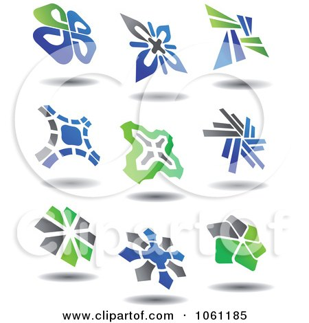 Green, Blue And Gray Abstract Logos 2 Digital Collage - Royalty Free Vector Clip Art Illustration by Vector Tradition SM