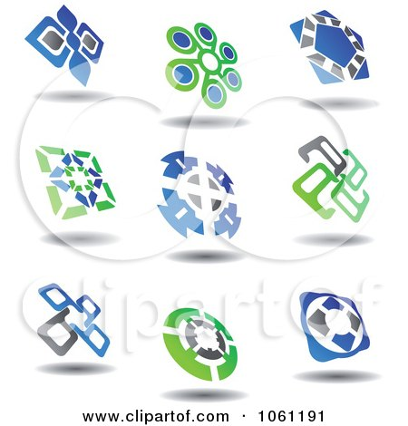 Green, Blue And Gray Abstract Logos 6 Digital Collage - Royalty Free Vector Clip Art Illustration by Vector Tradition SM