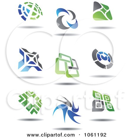 Green, Blue And Gray Abstract Logos 1 Digital Collage - Royalty Free Vector Clip Art Illustration by Vector Tradition SM