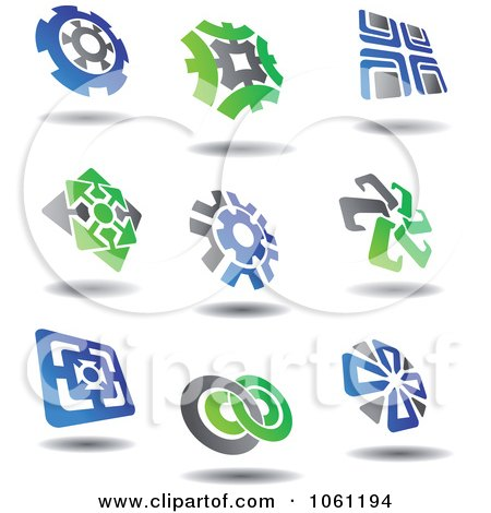Green, Blue And Gray Abstract Logos 5 Digital Collage - Royalty Free Vector Clip Art Illustration by Vector Tradition SM