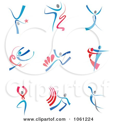 Digital Collage Of Abstract Dancer Logos 1 - Royalty Free Vector Clip Art Illustration by Vector Tradition SM