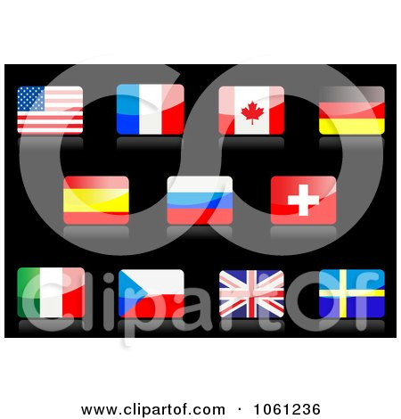 Royalty-Free Vector Clip Art Illustration of 3d Shiny American, French, Canadian, German, Spanish, Russian, Swiss, Italian, Sarawak, United Kingdom, And Sweden Flag Icons by Vector Tradition SM