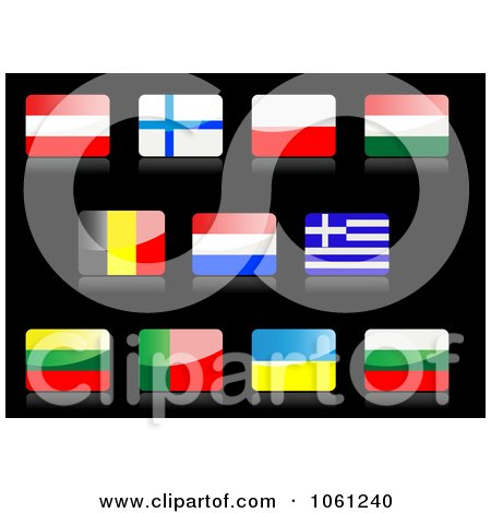 Royalty-Free Vector Clip Art Illustration of 3d Shiny Austria, Finland, Poland, Hungary, Belgium, Netherlands, Greece, Lithuania, Portugal, Ukraine, And Bulgaria Flag Icons by Vector Tradition SM