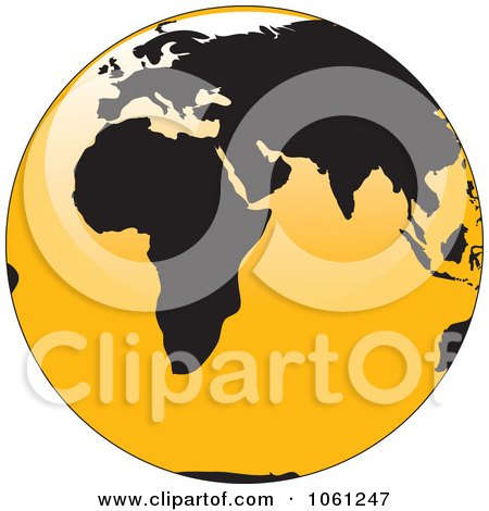 Royalty-Free Vector Clip Art Illustration of a 3d Black And Yellow Shiny Globe Of Europe And Africa by Vector Tradition SM
