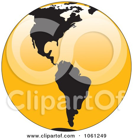 Royalty-Free Vector Clip Art Illustration of a 3d Black And Yellow Shiny Globe Of North And South America by Vector Tradition SM