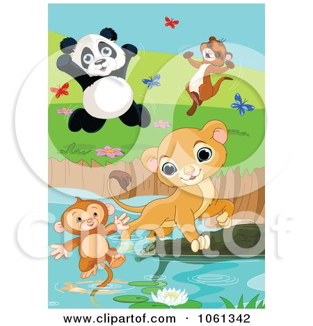Clipart Lion Saving A Drowning Monkey Panda And Ferret Celebrating - Royalty Free Animal Vector Illustration by Pushkin