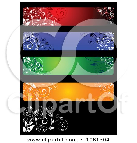 Royalty-Free Vector Clip Art Illustration of a Digital Collage Of Five Colorful Floral Website Banner Designs - 3 by Vector Tradition SM