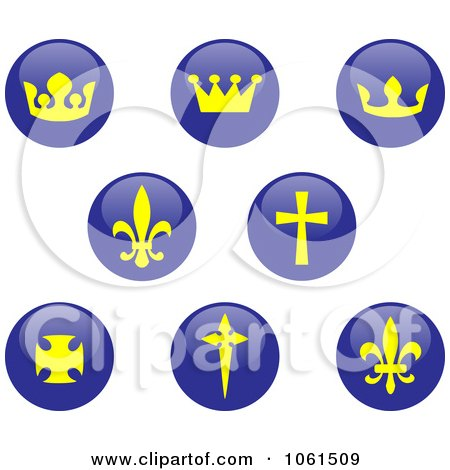 Royalty-Free Vector Clip Art Illustration of a Digital Collage Of Shiny Blue And Yellow Crown, Fleur De Lis And Cross Buttons by Vector Tradition SM
