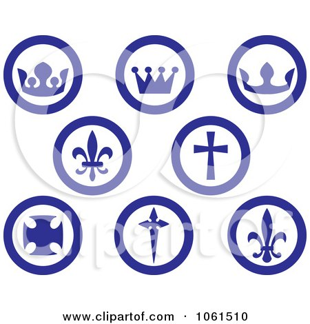 Royalty-Free Vector Clip Art Illustration of a Digital Collage Of Blue And Whi8te Crown, Fleur De Lis And Cross Buttons by Vector Tradition SM