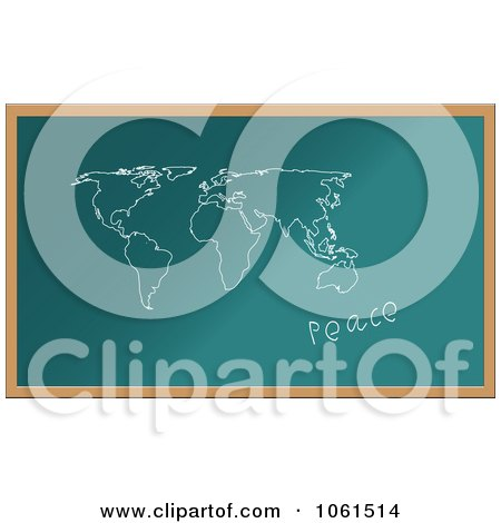 Royalty-Free Vector Clip Art Illustration of a World Map And Peace Drawn On A Chalk Board by Vector Tradition SM