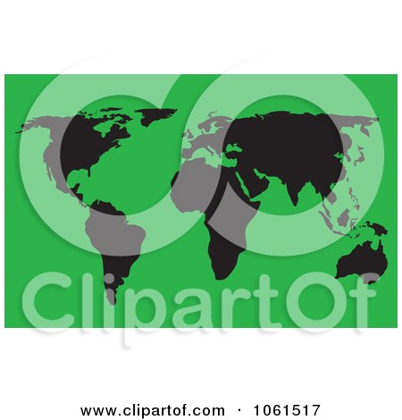 Royalty-Free Vector Clip Art Illustration of a Black And Green World Atlas Map by Vector Tradition SM