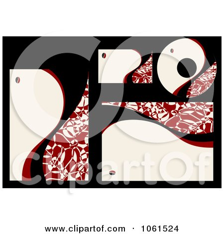 Royalty-Free Vector Clip Art Illustration of a Digital Collage Of Abstract Red Labels And Stationery by Vector Tradition SM