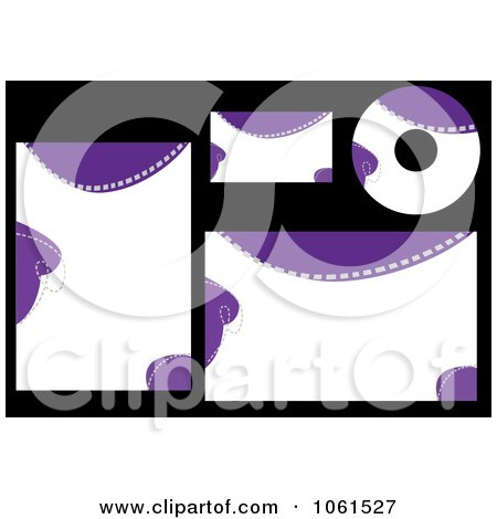 Royalty-Free Vector Clip Art Illustration of a Digital Collage Of Abstract Purple And White Labels And Stationery by Vector Tradition SM