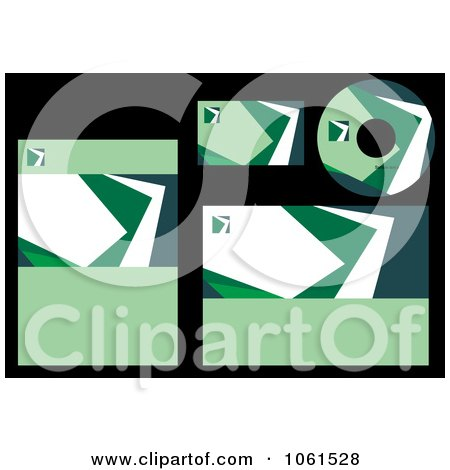 Royalty-Free Vector Clip Art Illustration of a Digital Collage Of Abstract Green Labels And Stationery by Vector Tradition SM